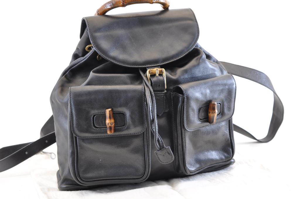 996adb8b241 GUCCI Leather Bamboo Backpack Black Auth sa743 – Brand Street