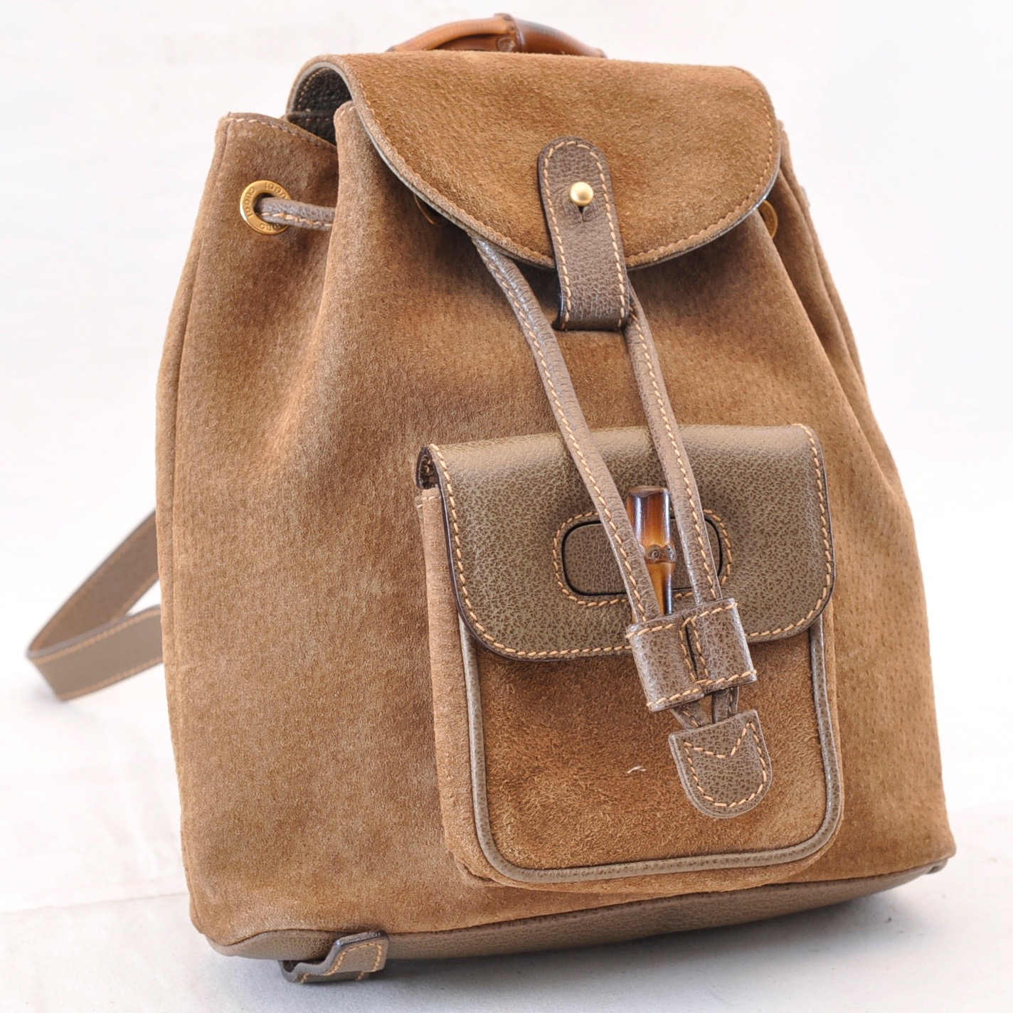 67eb2222ba1 GUCCI Bamboo Suede Backpack Knapsack Brown Auth ar528 – Brand Street