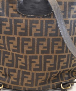 447c711c2d FENDI Zucca Canvas Backpack Knapsack Brown Black Auth sa1485 – Brand Street