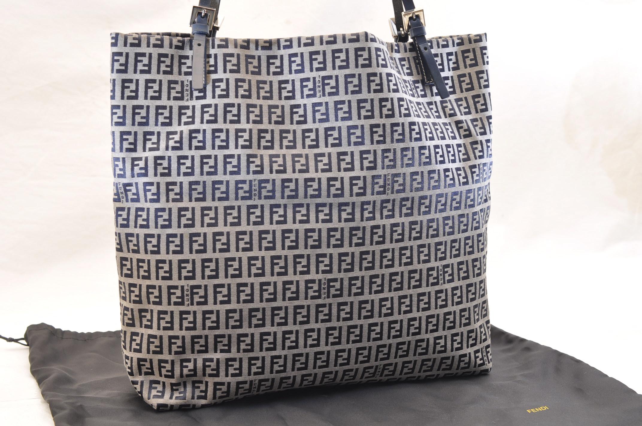 647ea9734e48 FENDI Zucca Canvas Tote Bag Blue Auth 5594. DSC0231-4.jpg ...