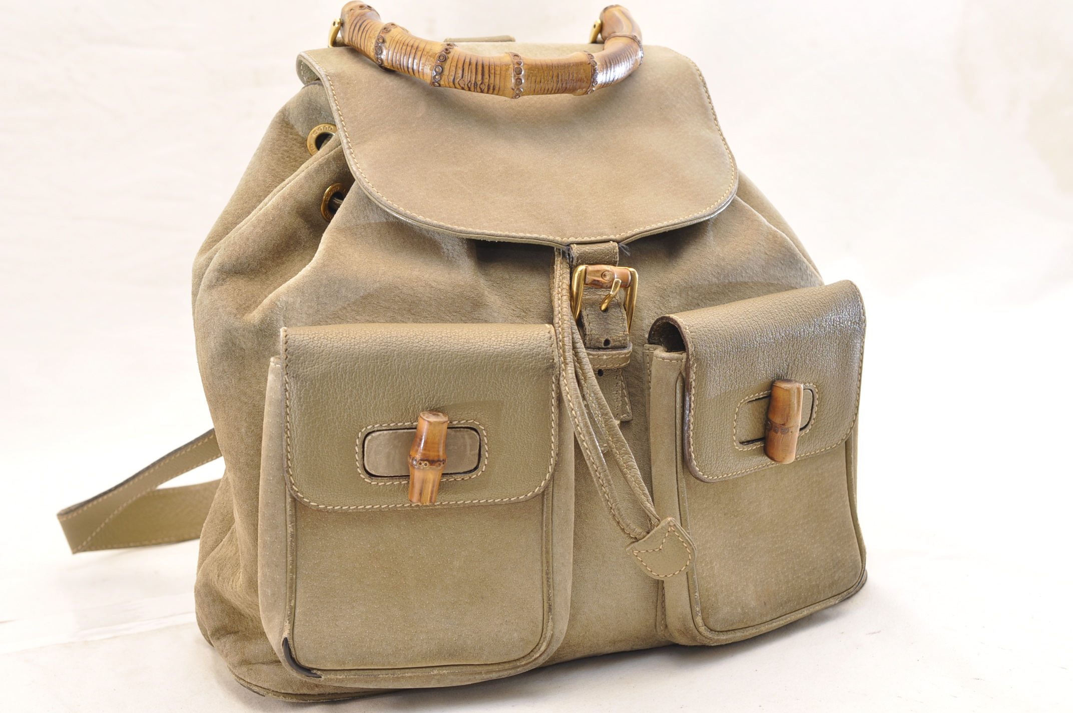 978f3c8e9 GUCCI Bamboo Suede Backpack Knapsack Green Auth 5293. DSC0280-12.jpg ...
