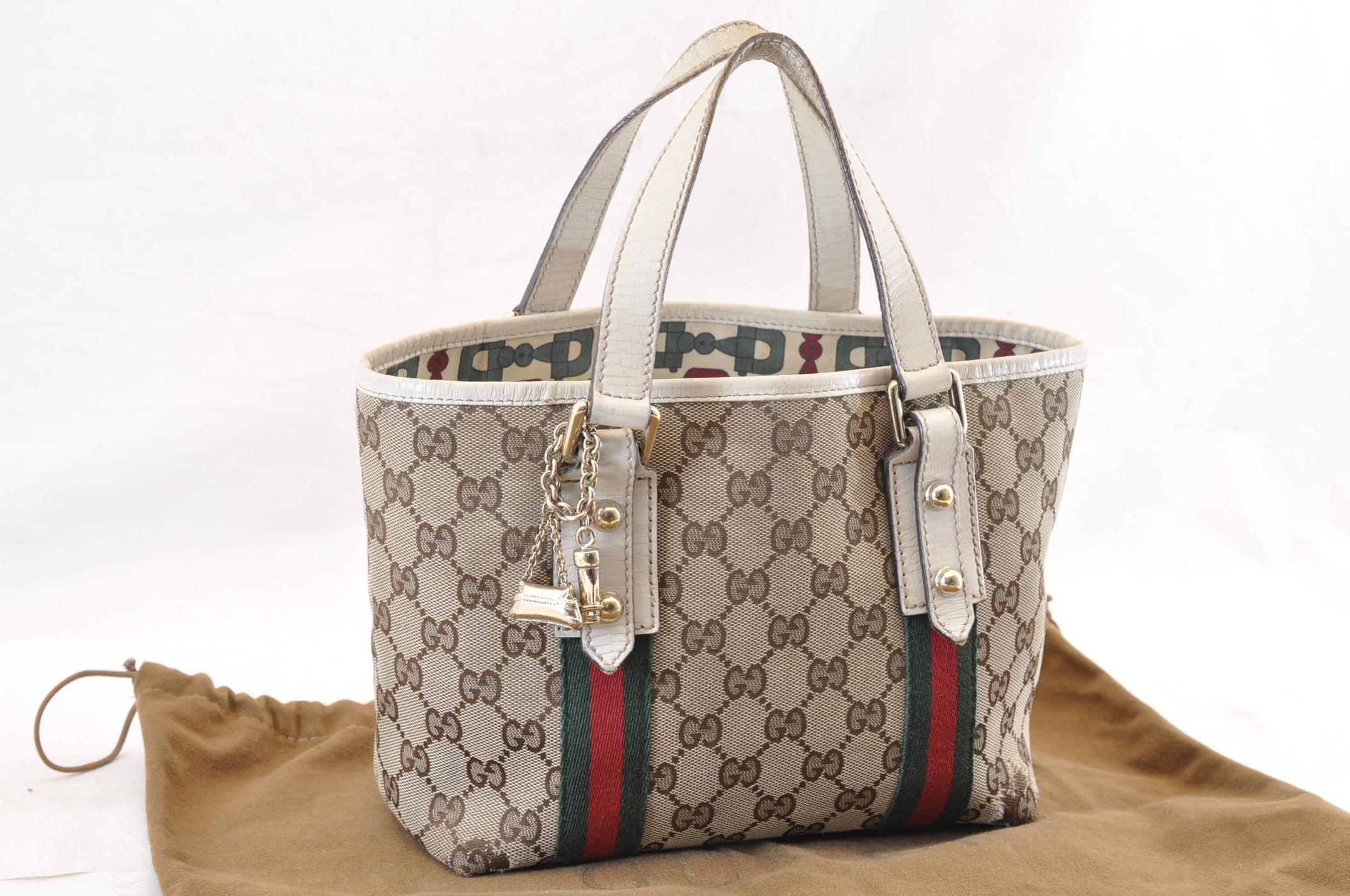 5f8e7c874cee GUCCI Web Sherry Line GG Canvas Hand Bag Brown Auth ar667 | eBay
