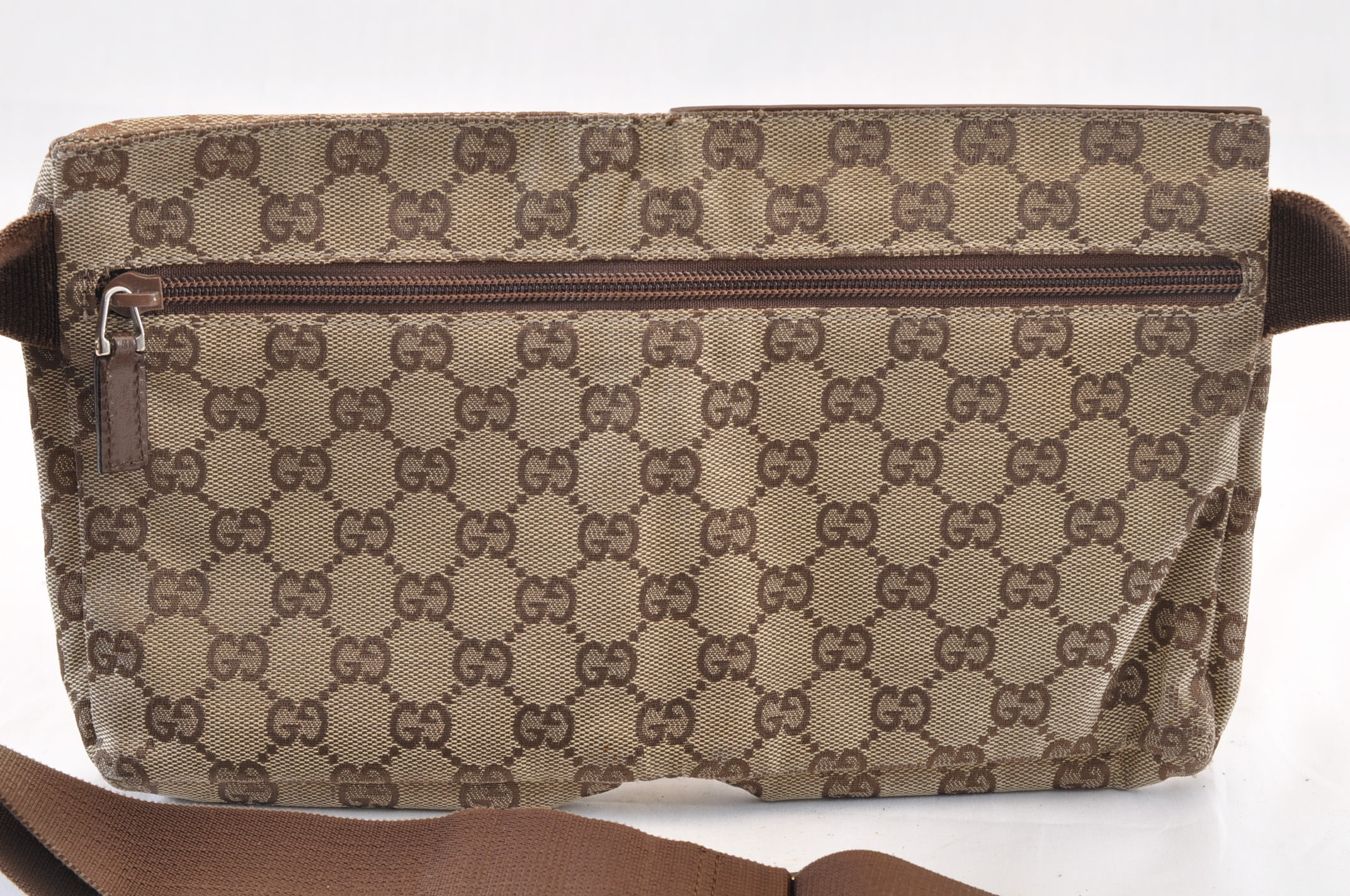 566f9a649 GUCCI GG Canvas Leather Waist Bag Pouch Brown Auth 7006 – Brand Street