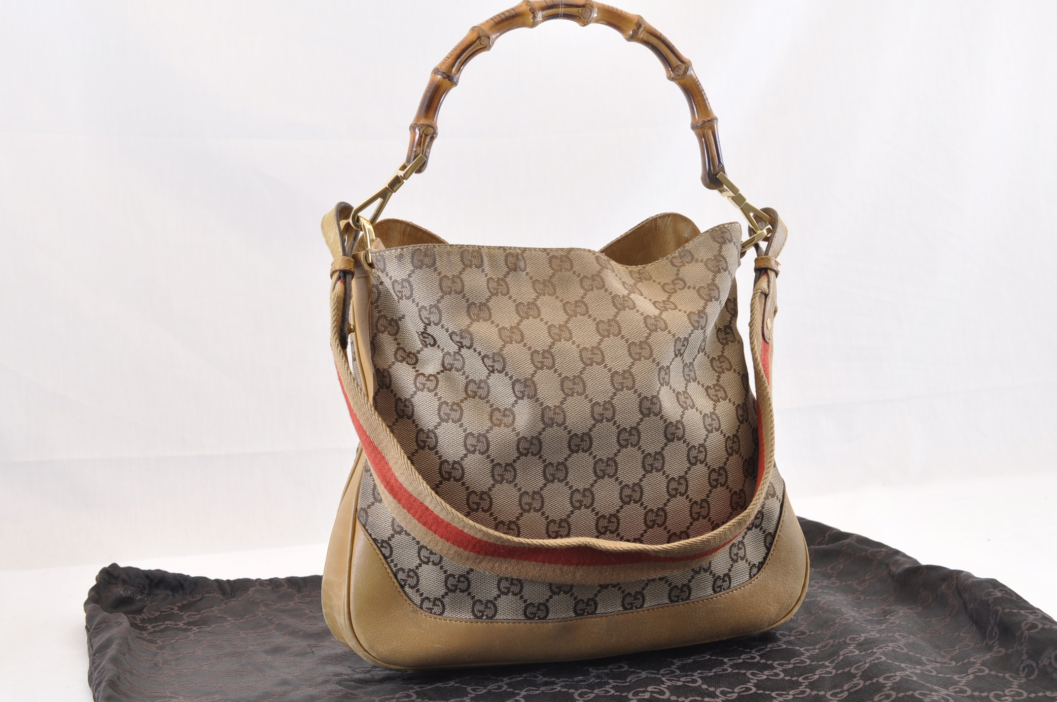 cc14df72c90 GUCCI Bamboo Sherry Line GG Canvas 2 Way Hand Bag Light Brown Auth 6926.  DSC0187-9.jpg ...
