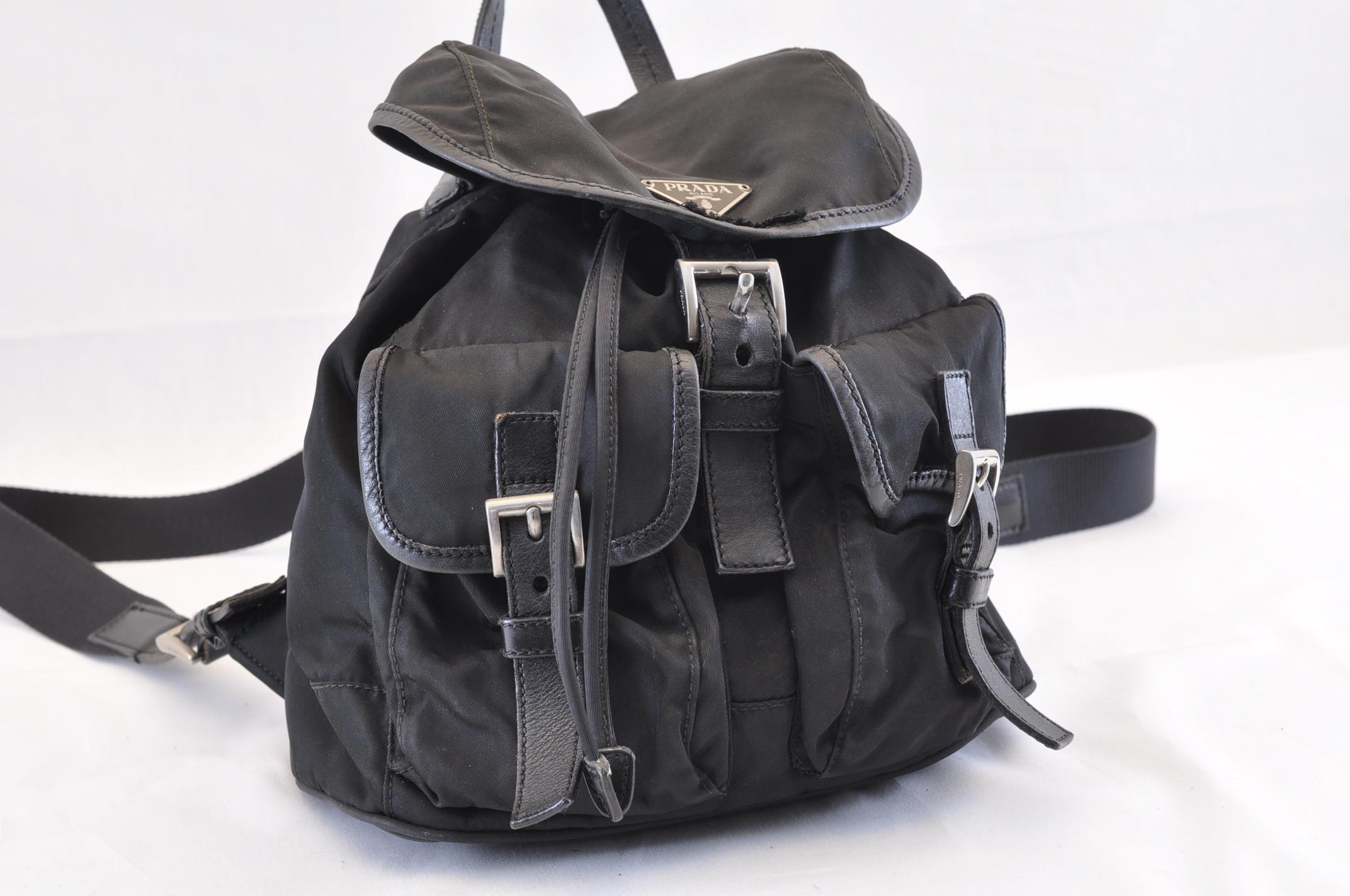 7932f46872e64 PRADA Nylon Backpack Knapsack Black Auth sa1633. DSC0271.jpg ...