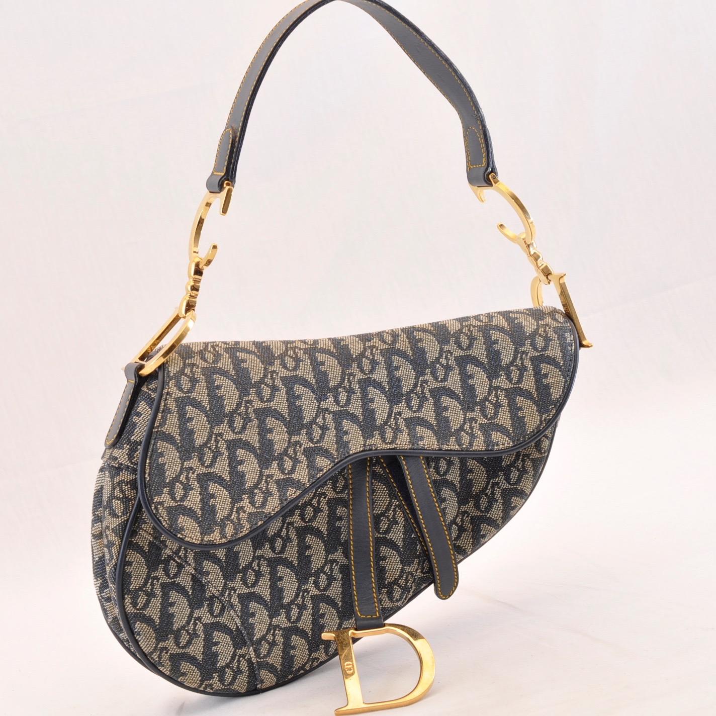 0850405ad Christian Dior Trotter Canvas Saddle Bag Hand Bag Navy Auth sa1778 ...