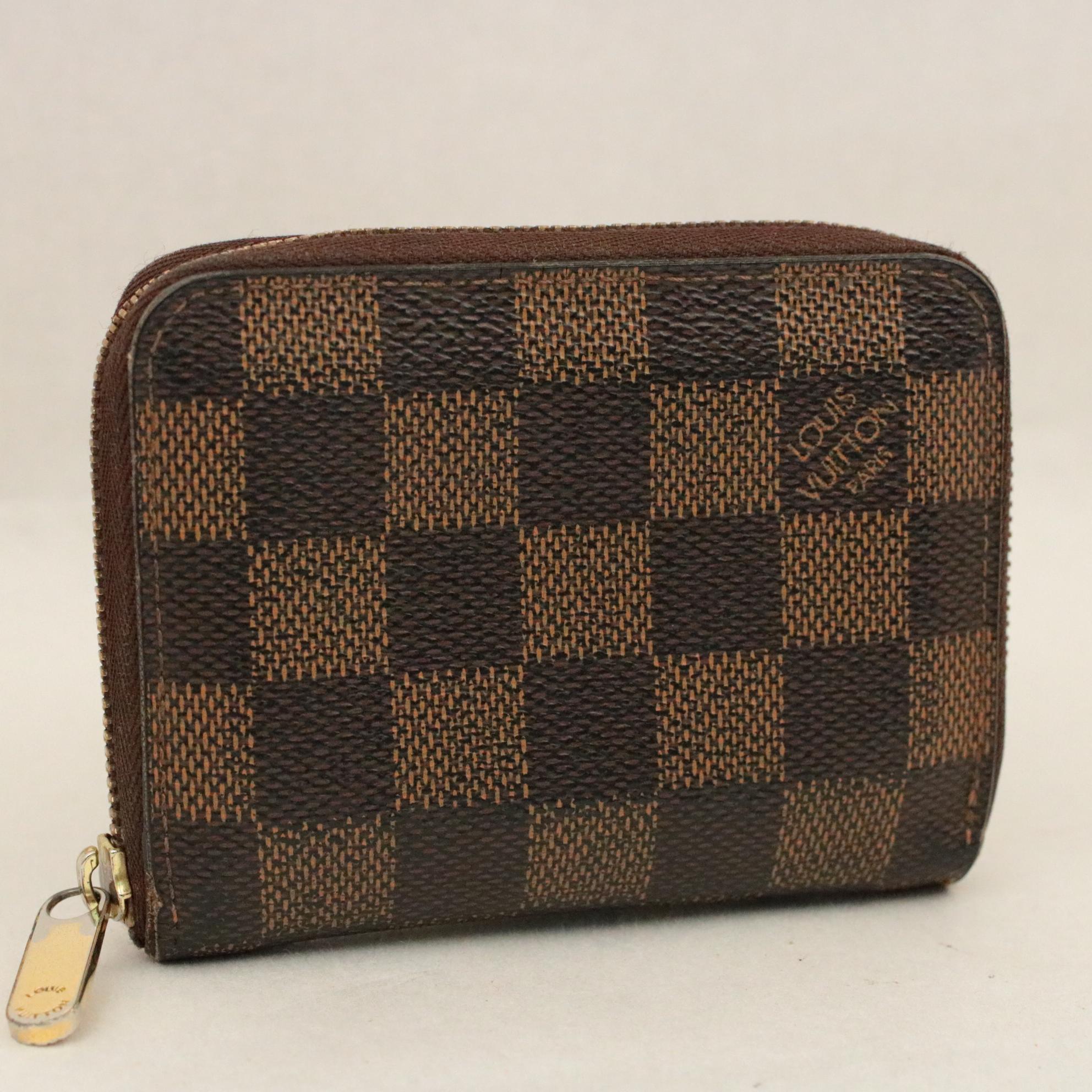 codice promozionale f2fc8 152c7 Dettagli su Louis Vuitton Damier Zippy Portamonete N63070 IV Auth 7616