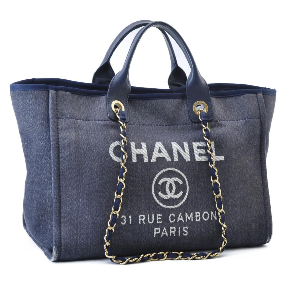 Chanel Borse Immagini.Chanel Tela Catena 2 Vie Borsa A Tracolla Mano Borsa Blu Navy Cc