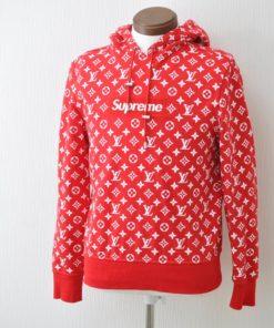 LOUIS VUITTON Supreme Box Logo Hooded Sweat shirt Red XXS LV Auth ak145