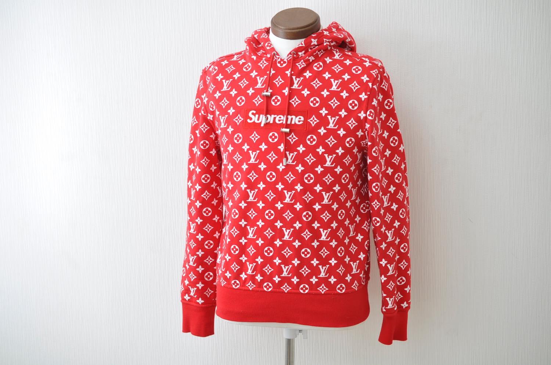 LOUIS VUITTON Supreme Box Logo Hooded Sweat Shirt Red XXS LV Auth